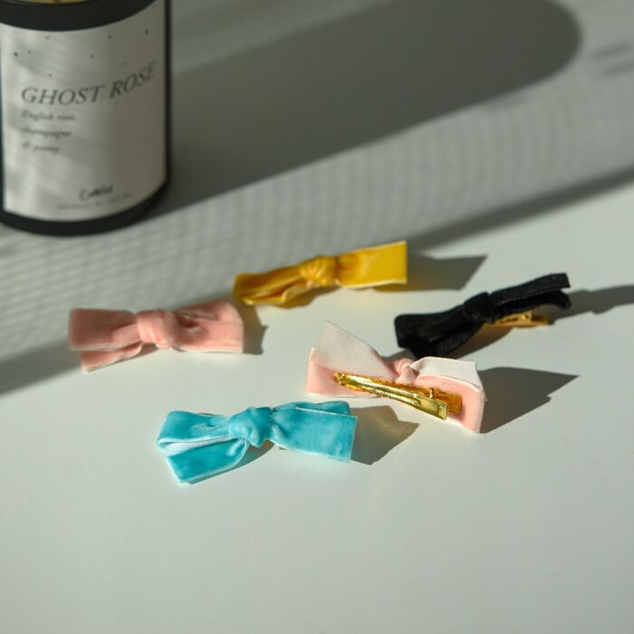 Alice's Velvet Bow Hair Clip, Pale Pink image