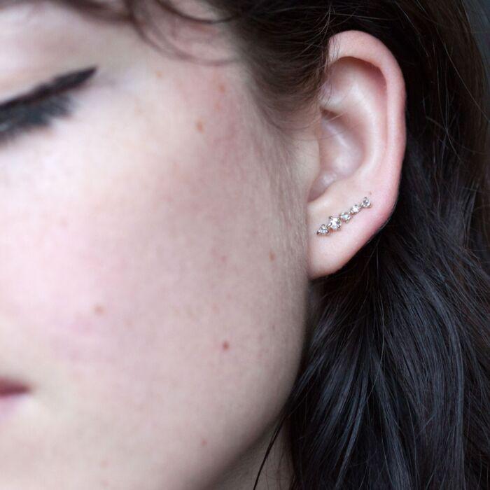 Snow Queen Ear Climber, white gold (single) image
