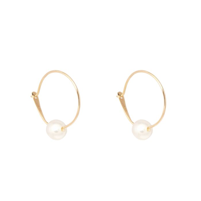 Pearl on a Wire Hoop (single)