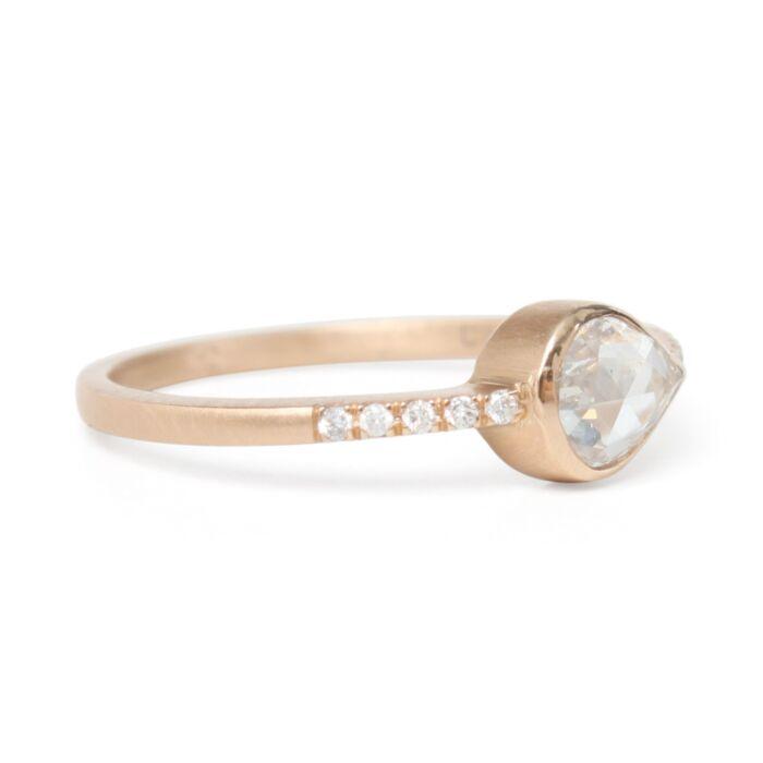Teardrop Diamond Pavé Ring image