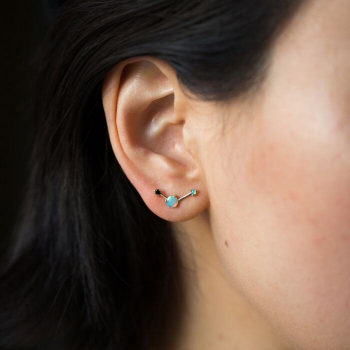Three-Step Ballon Earrings, Black Diamond image