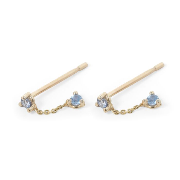 Two-Step Chain Earrings Sapphire