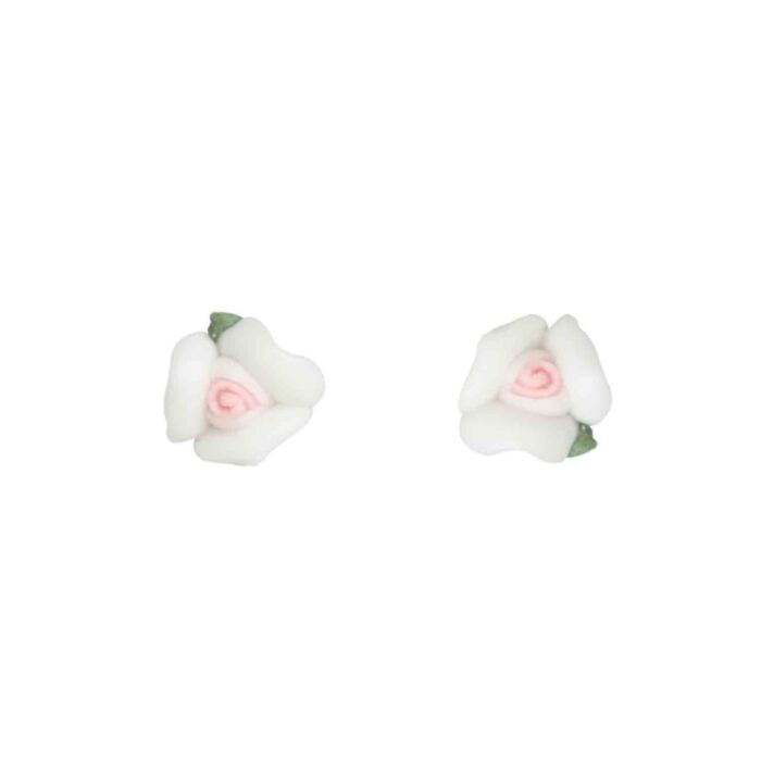Marzipan Rose Earrings, Snow White
