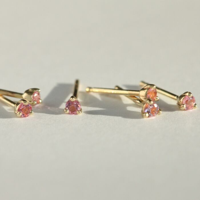 Small Blush Gradient Stud, Tourmaline (single)
