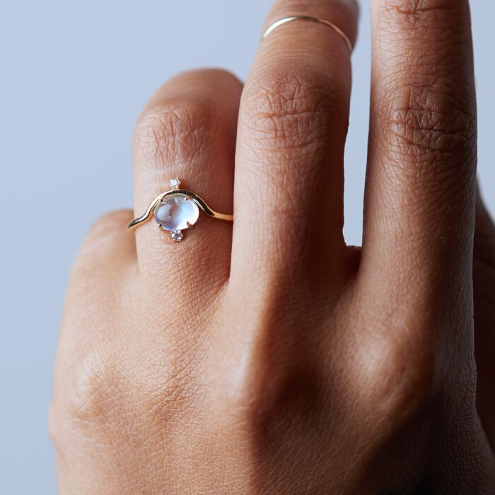 Nestled Moonstone & Diamond Ring image