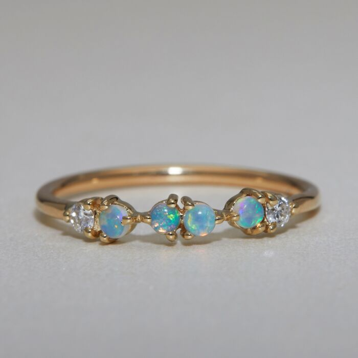 Opal & Diamond Demi-Paired Ring, styled