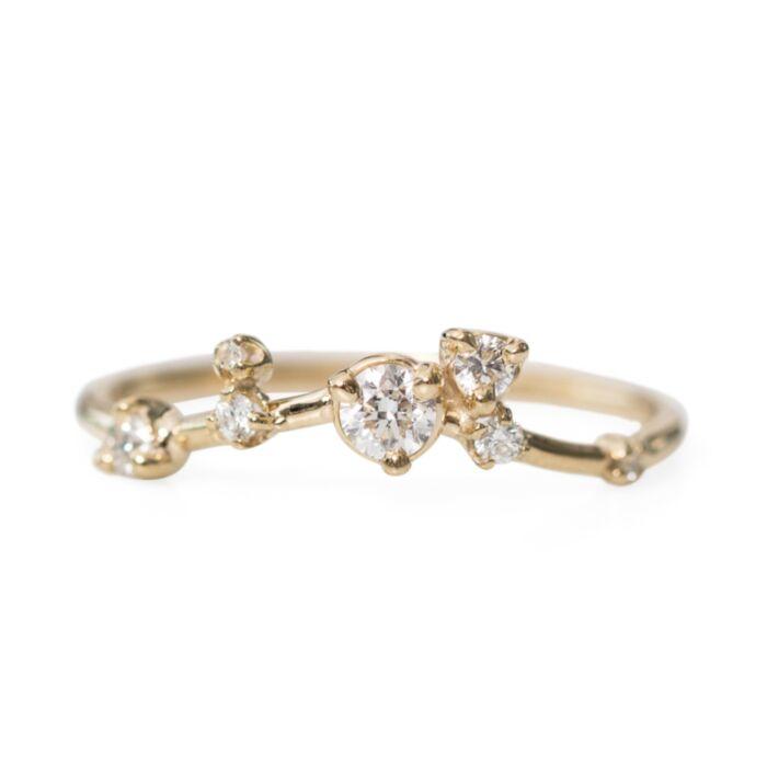 Organic Triangle Ring, White Diamonds