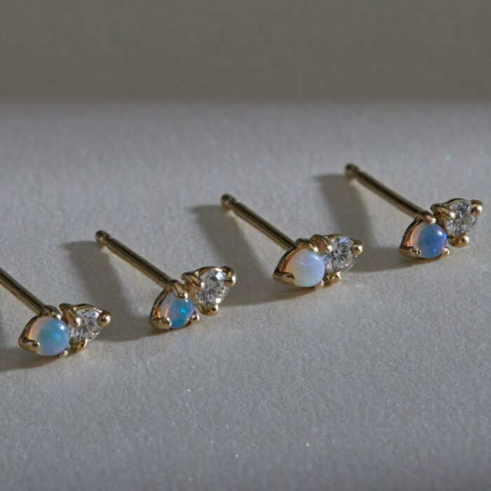 Two-Step Earring, Opal & Diamond, styled
