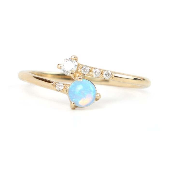Opal & Diamond Crossover Ring