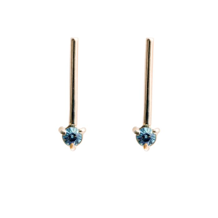 One-Step Bar Earring, Sapphire (single)