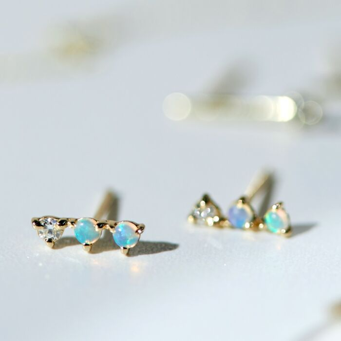 Three-Step Earrings, Diamonds image