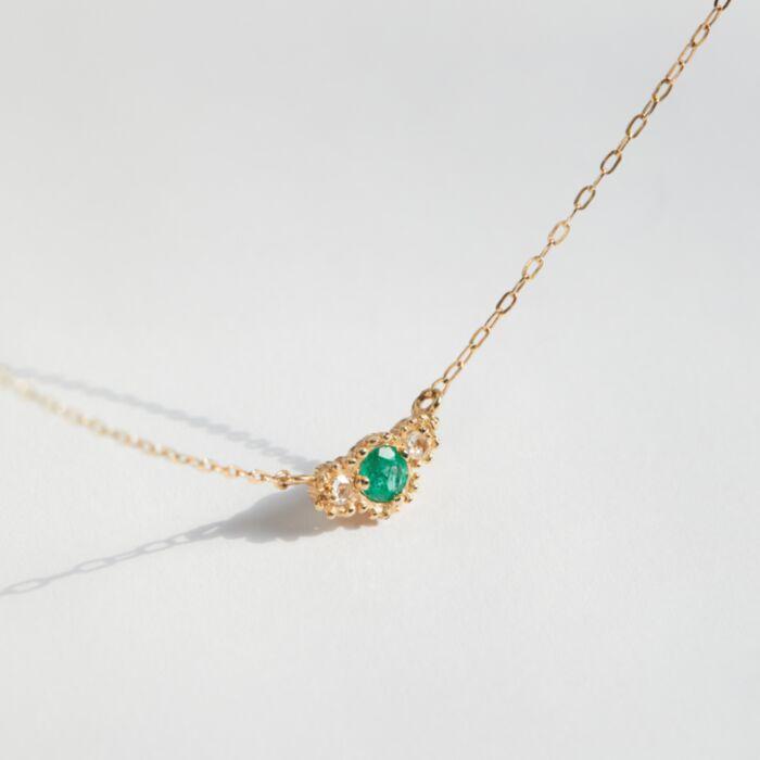 Emerald Diamond Twinkle Necklace