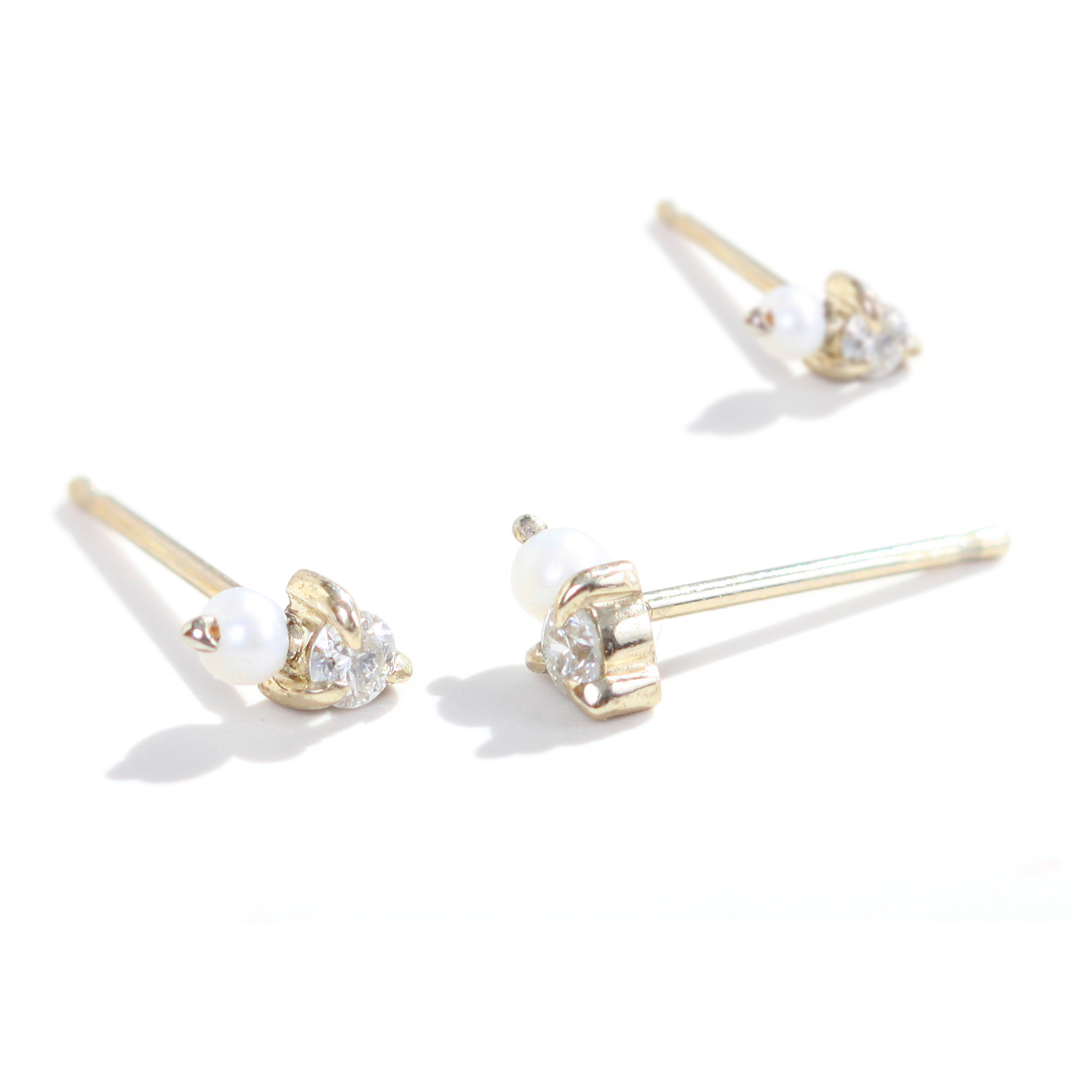 clear property single stone gold earring earrings pearl room l with