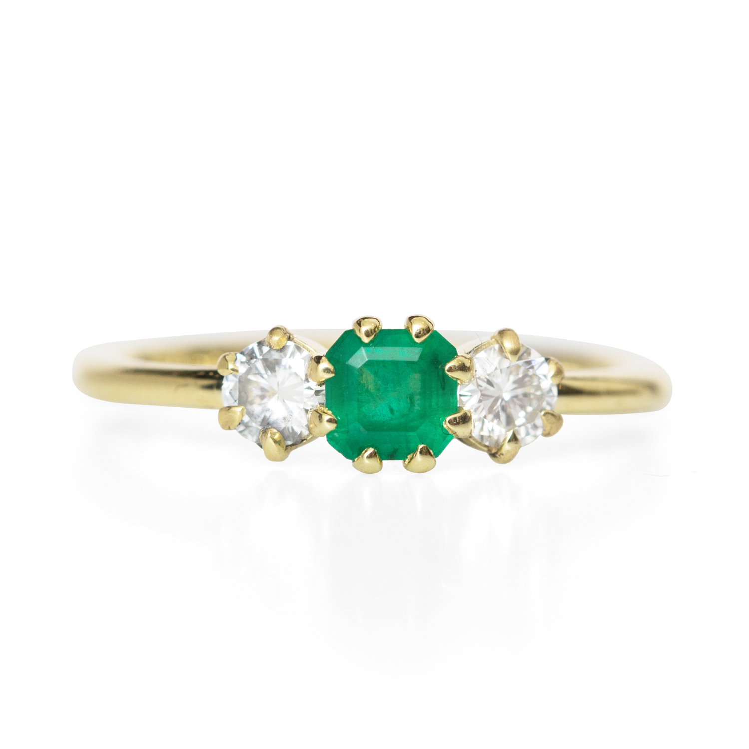 side emerald graduated engagement white stone cut ring gold stones with diamond in