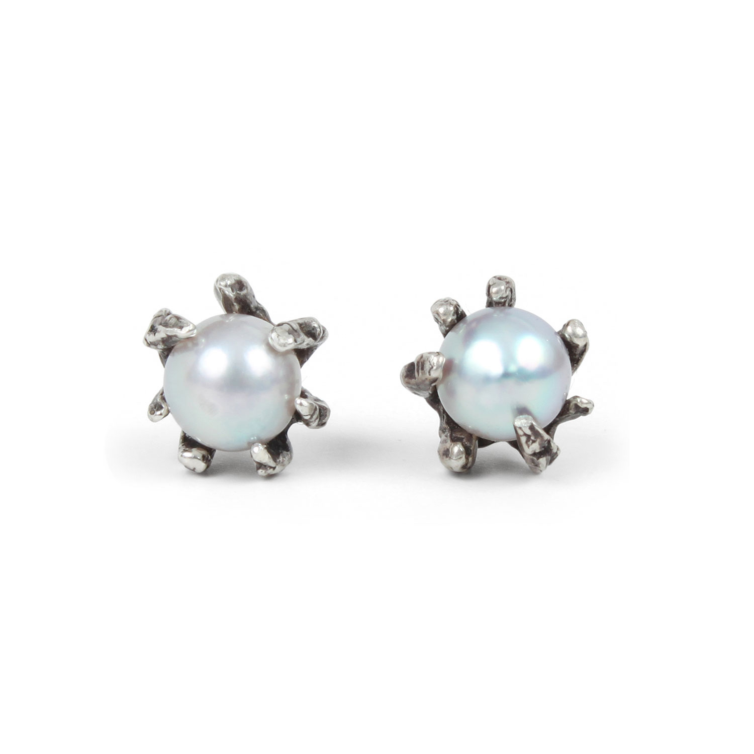 rhodium drop stella earrings maddie p dot pearl pearls