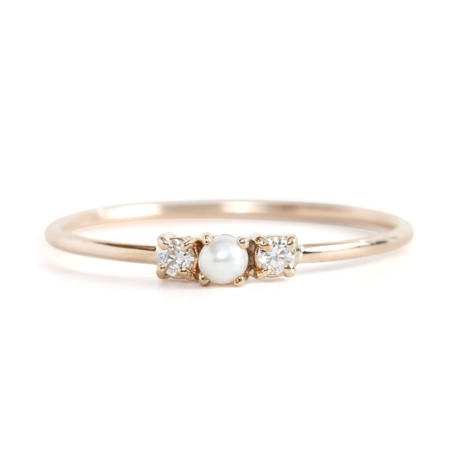 Pearl Wedding Ring: Pearl Sandwich Ring