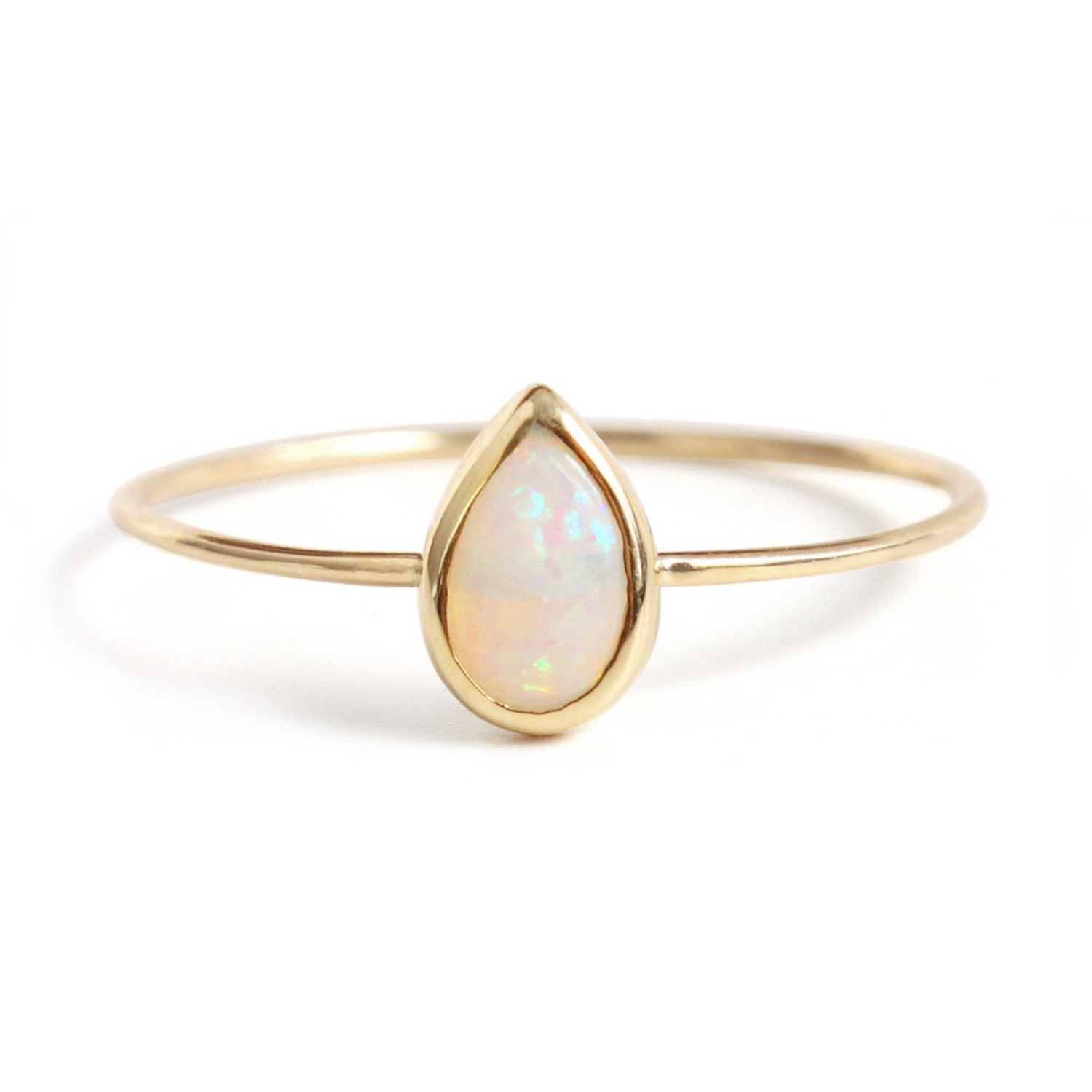 Opal teardrop ring catbird for Wedding band for teardrop engagement ring