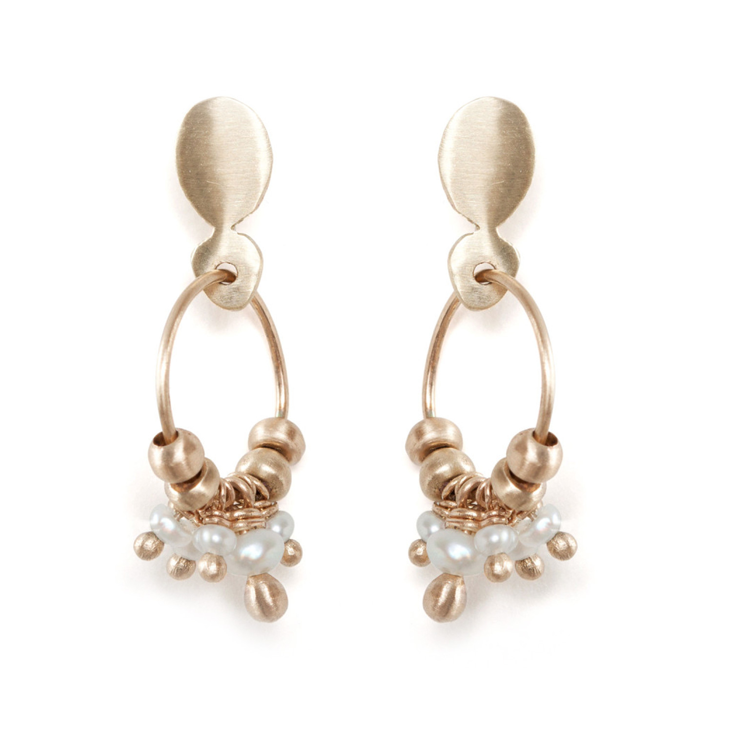 diamond in cluster gold flower earrings white