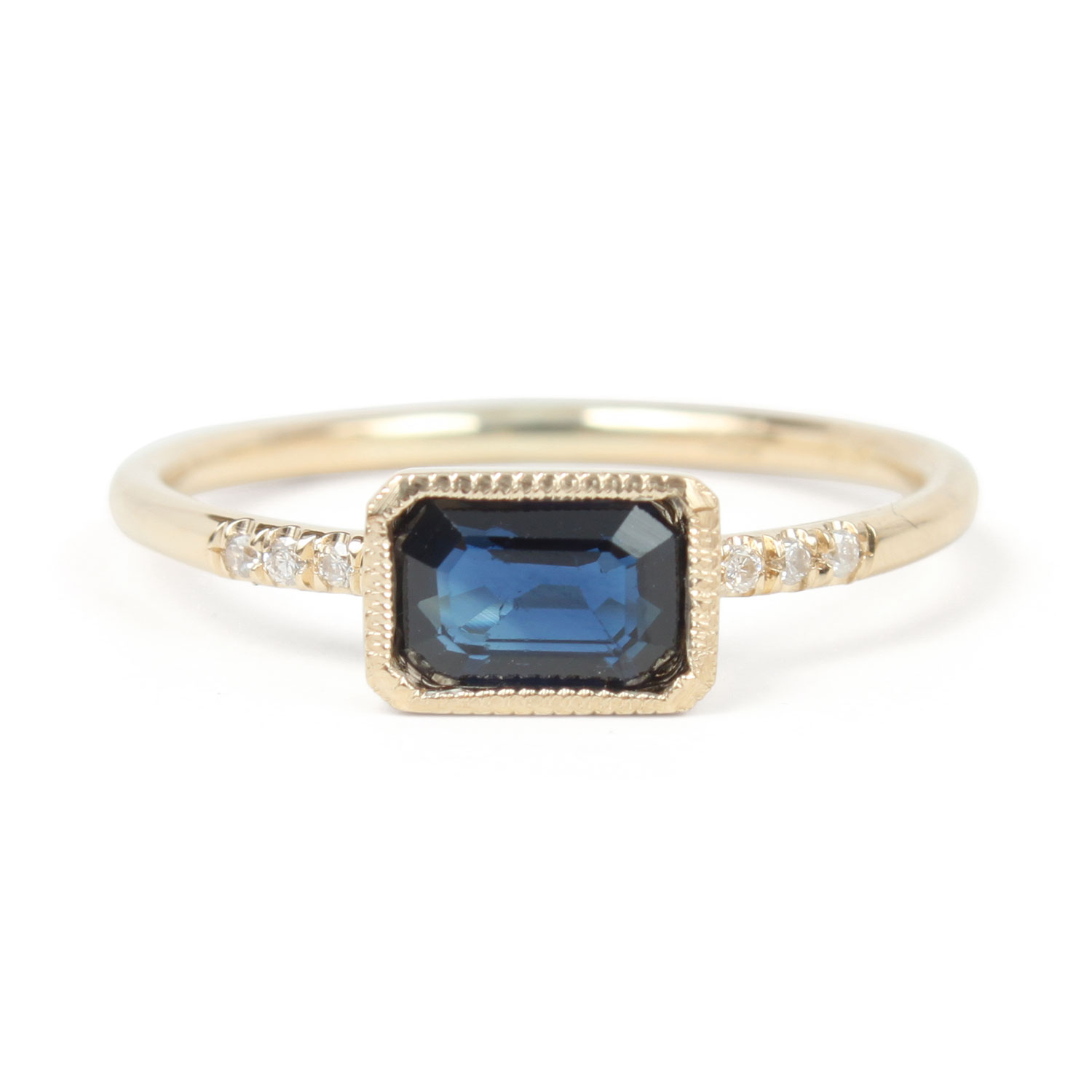 emerald ring rings cut gold s blue diamonds rosados lisette engagement rectangle halo box white rosado and sapphire