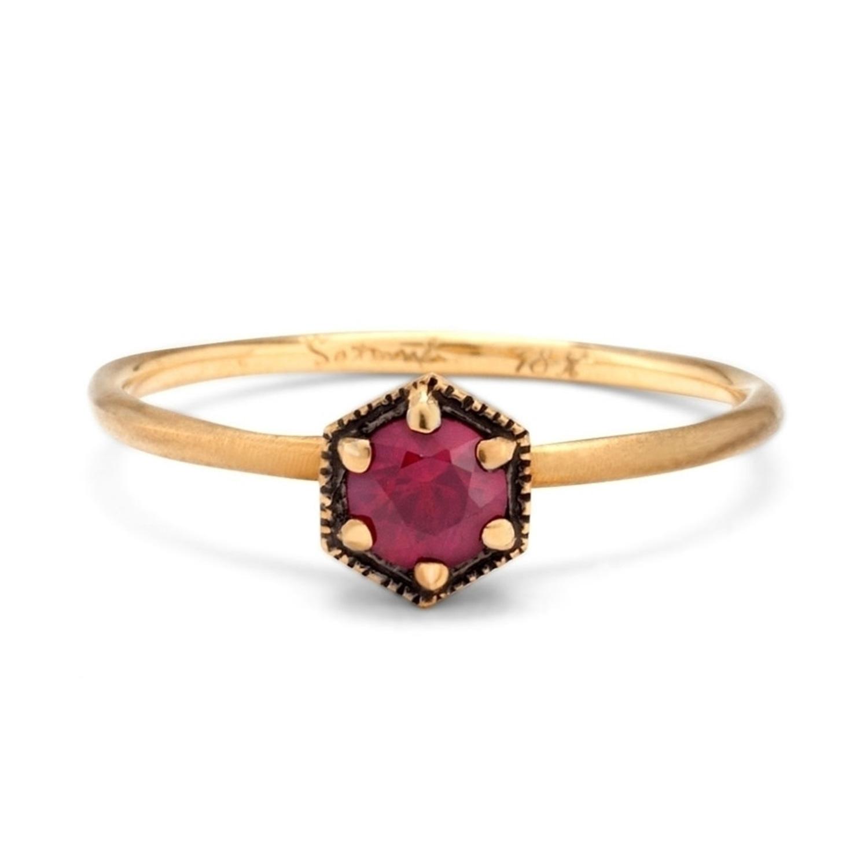 Hexagon Ring Ruby Catbird