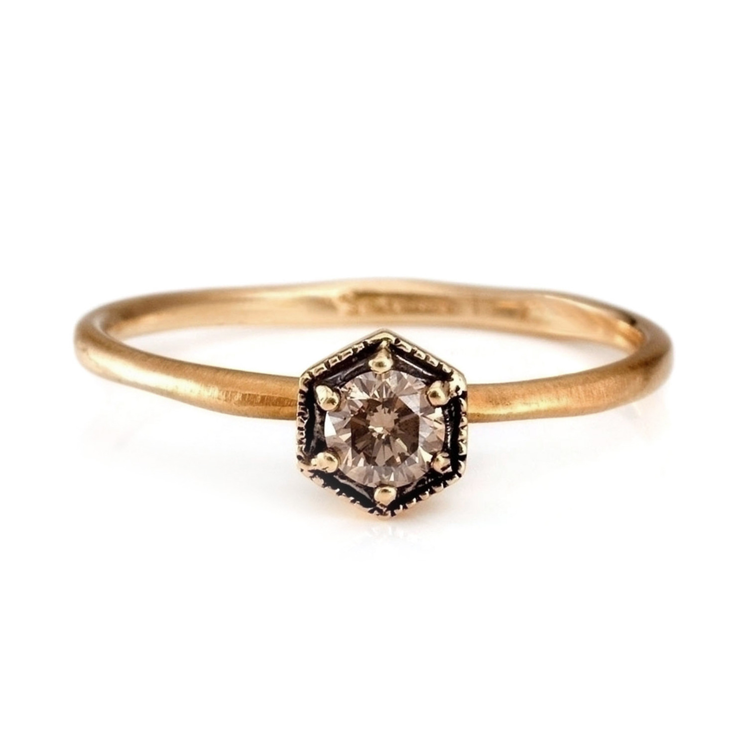 27c3e70fc4987 Hexagon Ring, Champagne Diamond