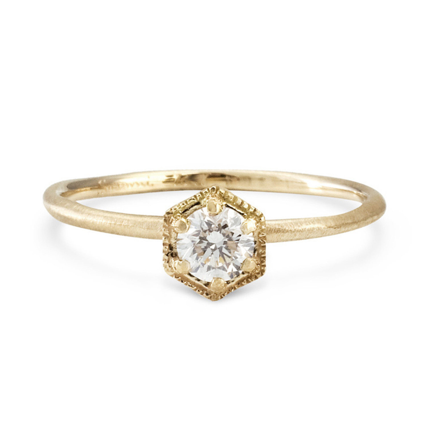 Hexagon Ring, White Diamond, Gold - Engagement Rings - Catbird