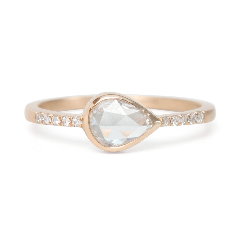 teardrop diamond pav ring catbird - Teardrop Wedding Rings