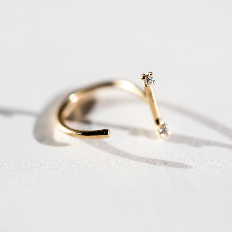 Two Diamonds Line Earring (single)