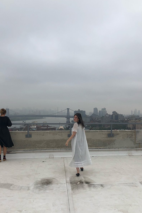 a photo Leith took on the roof of us (Rony in black, Leigh in white, an accidental homage to a cookie we love)
