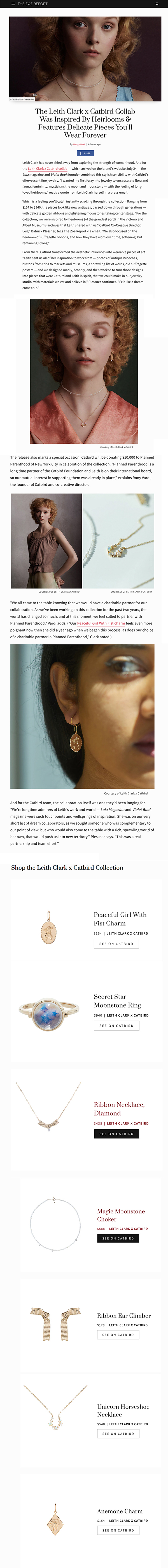 The Zoe Report - Catbird x Leith Clark Collection